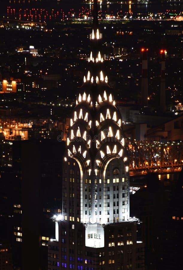 克莱斯勒大厦的尖顶在晚上 图库摄影