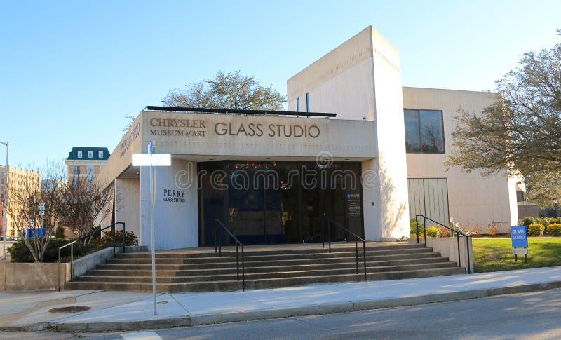克莱斯勒艺术馆的玻璃演播室 免版税库存图片