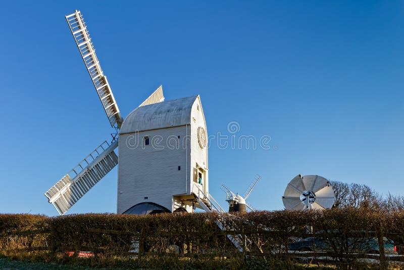 克莱顿,东部SUSSEX/UK - 1月3日:杰克和Jill风车 免版税库存照片