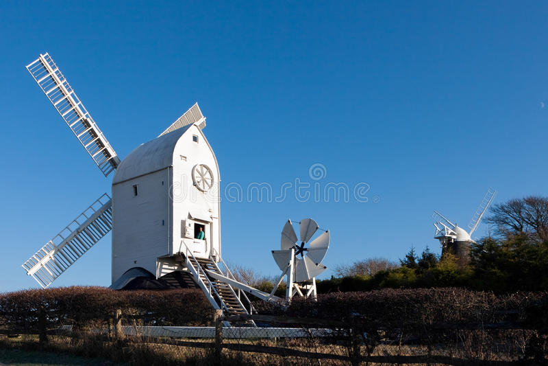 克莱顿,东部SUSSEX/UK - 1月3日:杰克和Jill风车 图库摄影