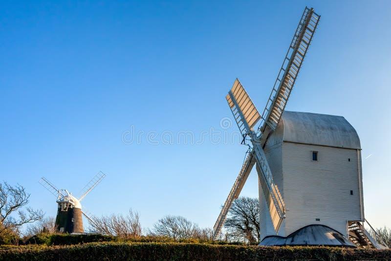 克莱顿,东部SUSSEX/UK - 1月3日:杰克和Jill风车 免版税图库摄影
