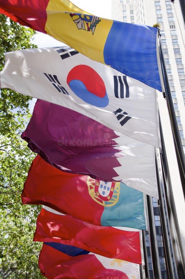 洛克菲勒中心旗子 免版税库存照片