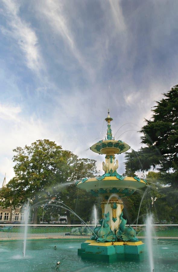 克赖斯特切奇喷泉庭院孔雀 库存照片