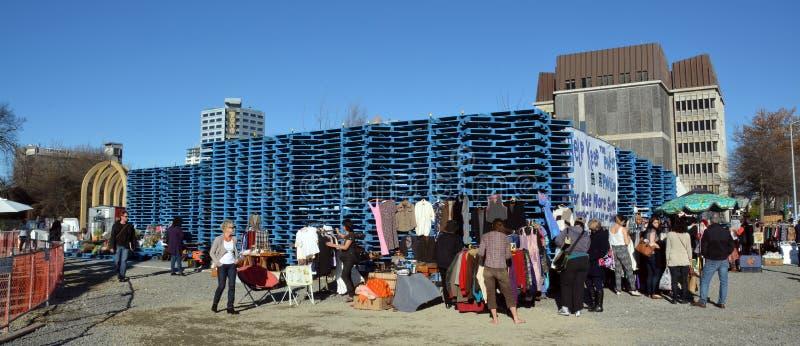 克赖斯特切奇地震改建-填隙板台亭子。 免版税库存图片
