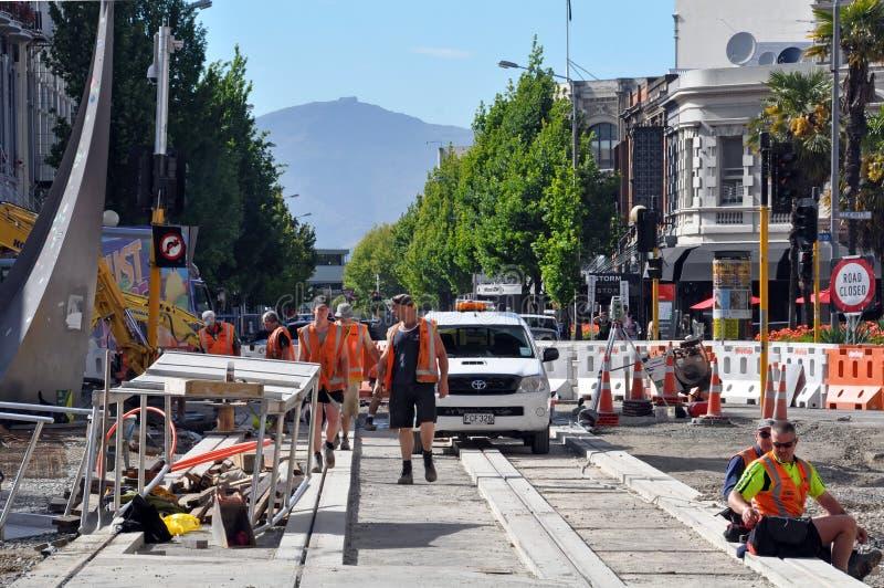 克赖斯特切奇地震新的跟踪电车 免版税库存图片