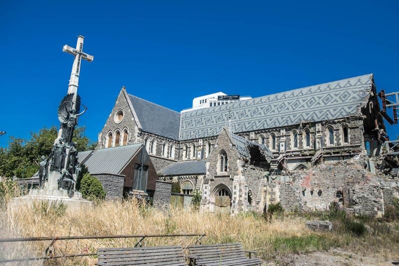 克赖斯特切奇市中心,在地震以后的被破坏的大教堂 图库摄影