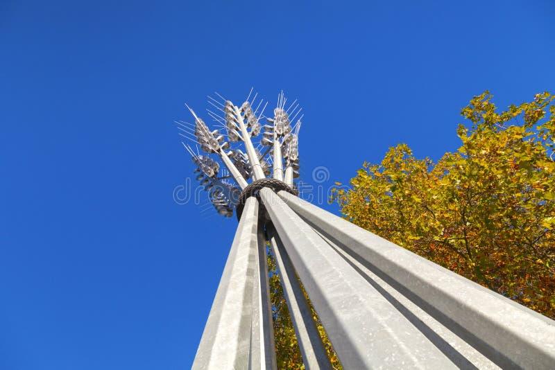 克赖斯特切奇新西兰Wheatsheaf雕塑 免版税库存图片