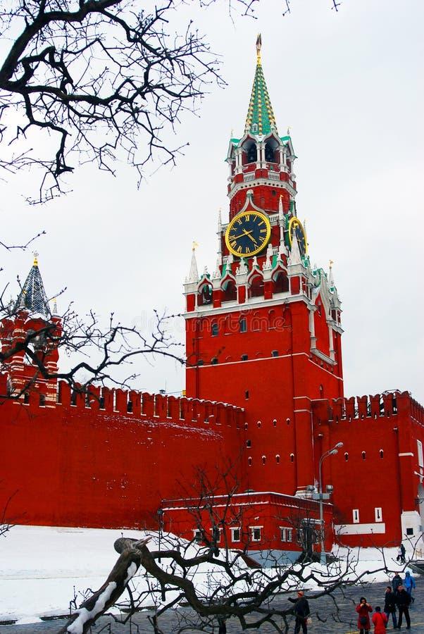 克里姆林宫。Spasskaya塔,时钟。 免版税库存照片