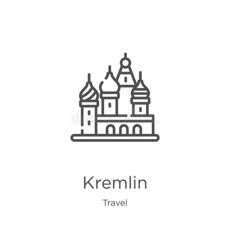 克里姆林宫从旅行汇集的象传染媒介 稀薄的线克里姆林宫概述象传染媒介例证 概述,稀薄的线克里姆林宫象 皇族释放例证