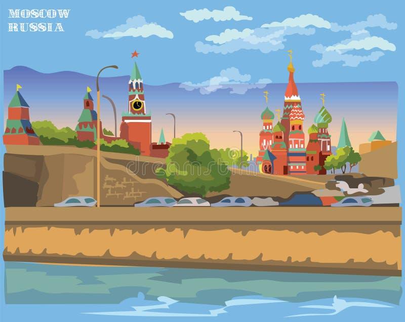 克里姆林宫塔和桥梁的堤防都市风景横跨莫斯科河国际地标红场,莫斯科,俄罗斯 库存例证