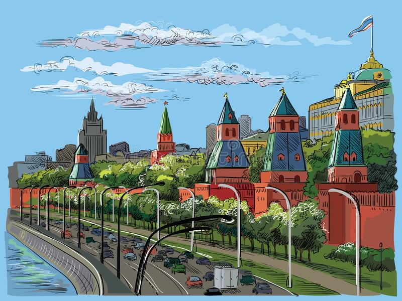 克里姆林宫塔和莫斯科河红场,莫斯科,俄罗斯五颜六色的被隔绝的传染媒介手图画的堤防都市风景  库存例证