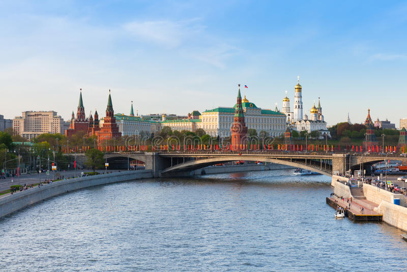 克里姆林宫的看法日落的,莫斯科 免版税库存照片