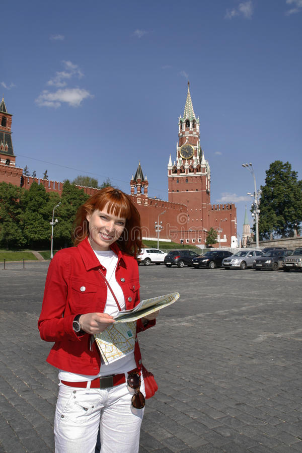 克里姆林宫莫斯科游人妇女 免版税图库摄影