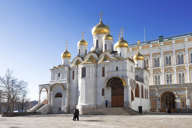 克里姆林宫莫斯科 通告大教堂在冬天,莫斯科 免版税库存照片