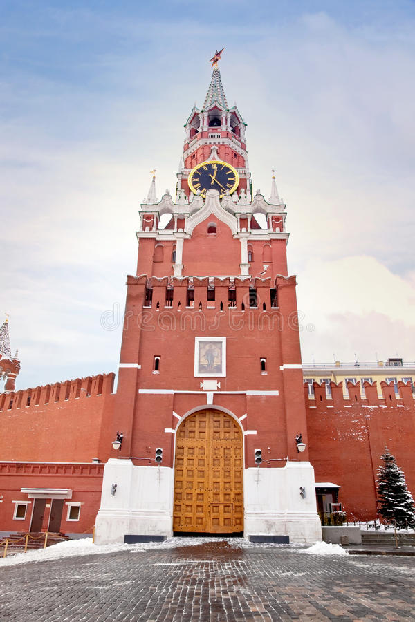 克里姆林宫莫斯科spasskaya塔 图库摄影