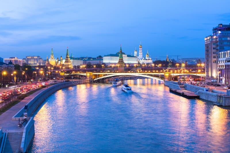 克里姆林宫,俄罗斯的黄昏视图 免版税库存照片