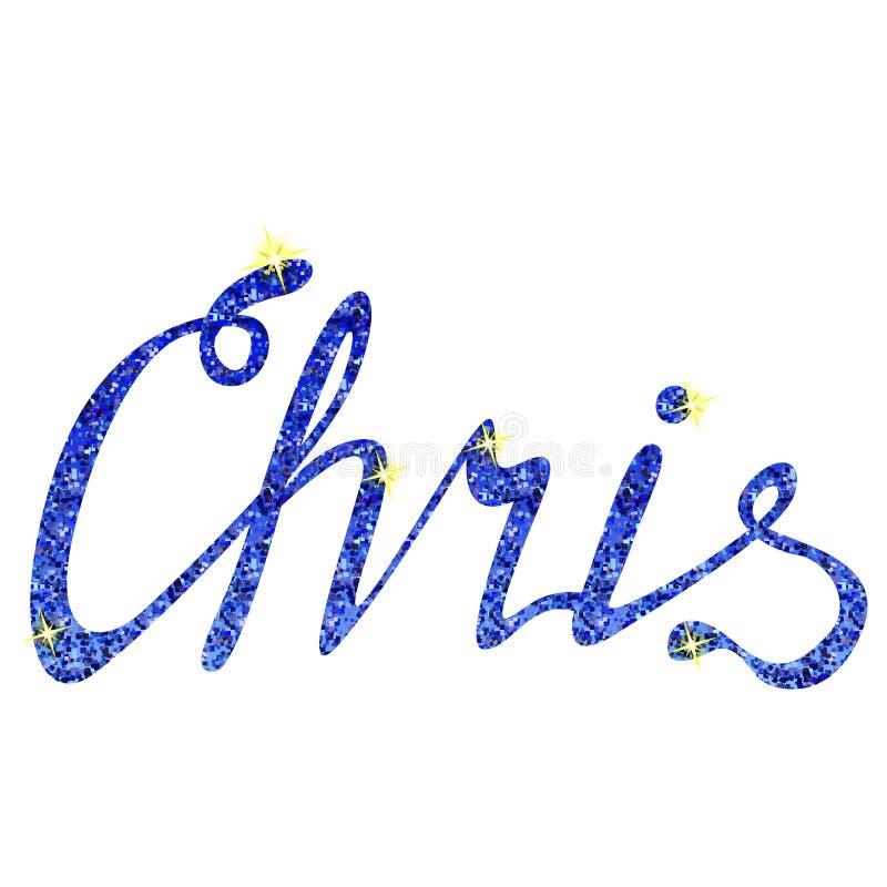 克里斯名字字法闪亮金属片 库存例证