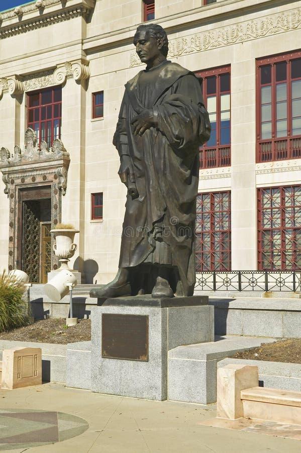 克里斯托弗・哥伦布雕象香港大会堂的在哥伦布,俄亥俄 免版税图库摄影