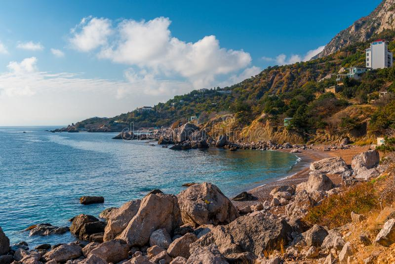 克里米亚半岛山半岛的美丽如画的风景 图库摄影