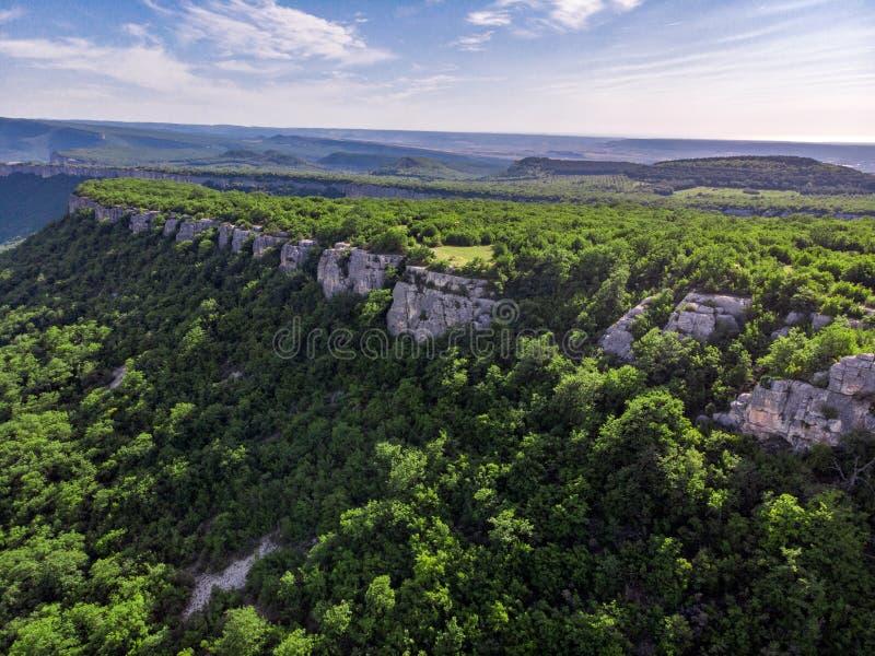克里米亚半岛山在用绿色森林包括的夏天 库存图片