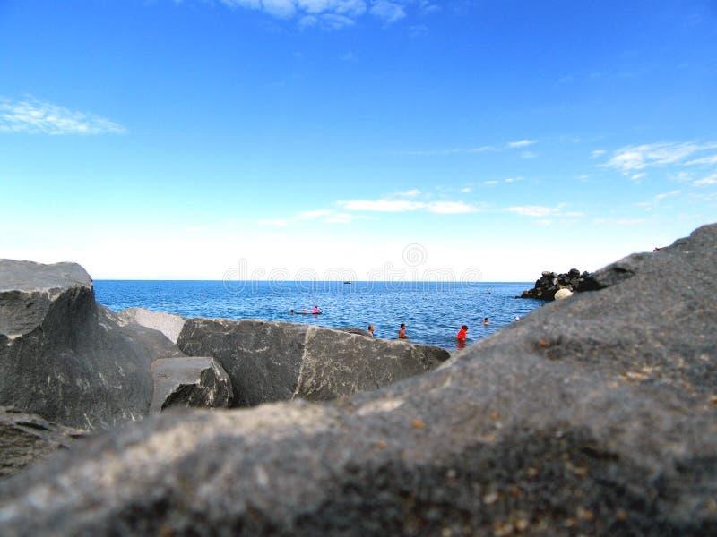 从克里米亚半岛海岸的海视图 免版税库存图片