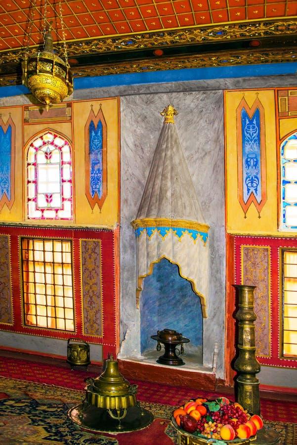 克里米亚半岛鞑靼人的内部,土耳其东方家具A 库存照片