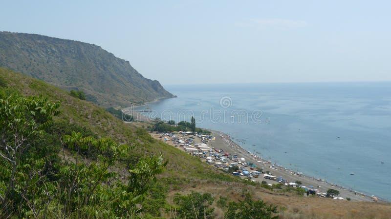 克里米亚半岛dag kara横向光山光芒 库存照片
