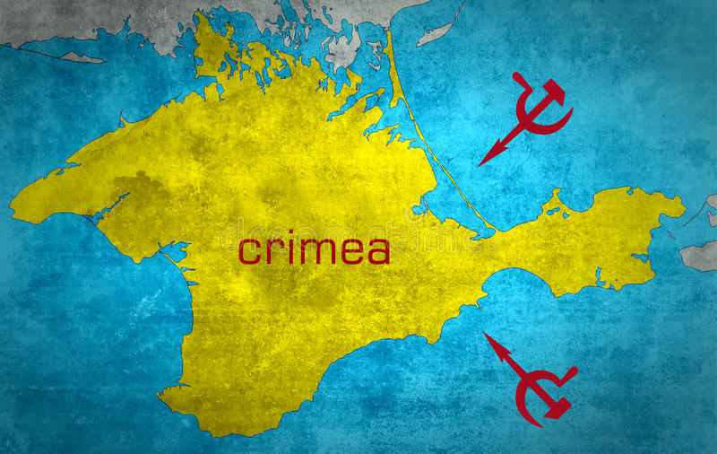 克里米亚的地图有俄国扩展的 免版税库存图片
