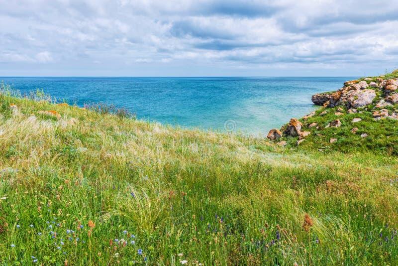 克里米亚自然风景 刻赤亚速号海 风景背景假期目的地 库存照片