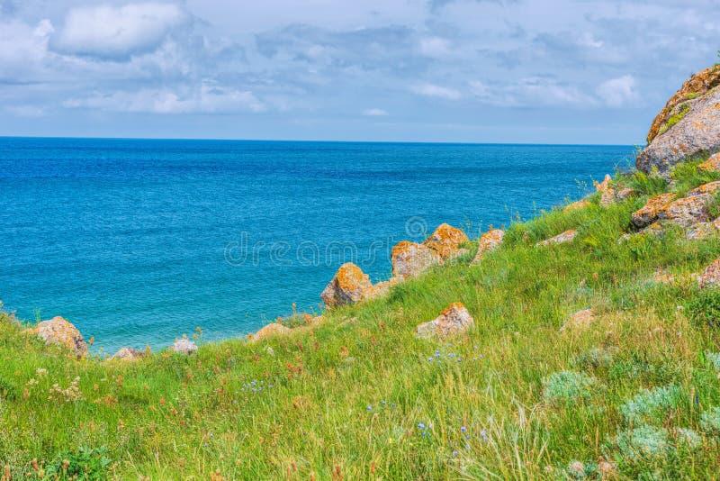克里米亚自然风景 刻赤亚速号海 风景背景假期目的地 免版税库存图片