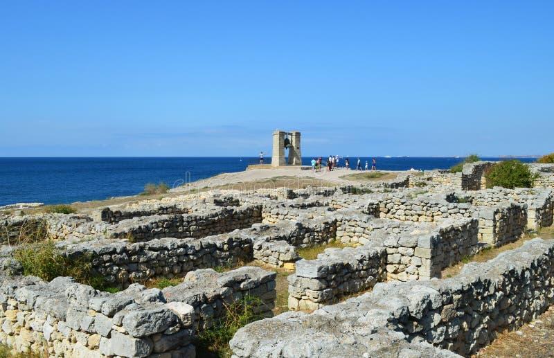 克里米亚, Chersonesos,在黑海的信号响铃 库存照片