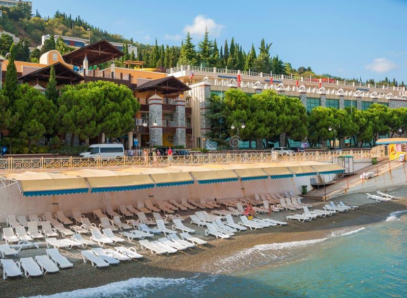 克里米亚 海滩阿卢什塔 免版税库存照片