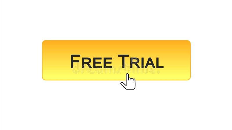 免费试用网接口按钮点击了与老鼠游标橙色颜色软件 向量例证