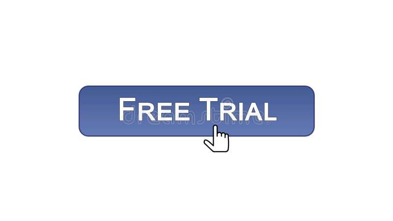 免费试用网接口按钮点击了与老鼠游标,紫罗兰色颜色软件 皇族释放例证