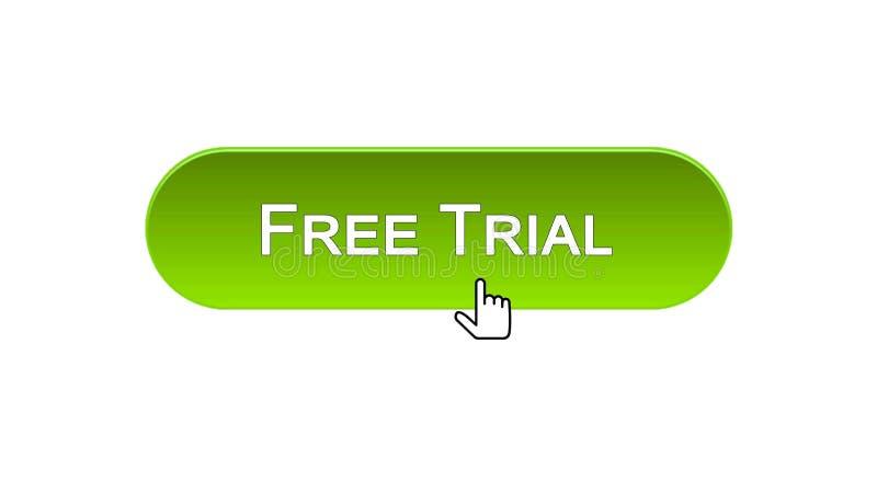 免费试用网接口按钮点击了与老鼠游标,绿色,软件 皇族释放例证