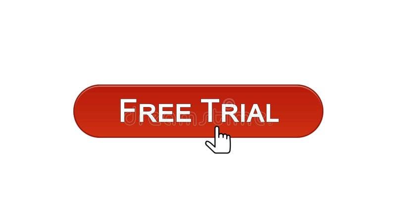 免费试用网接口按钮点击了与老鼠游标,葡萄酒红,软件 向量例证