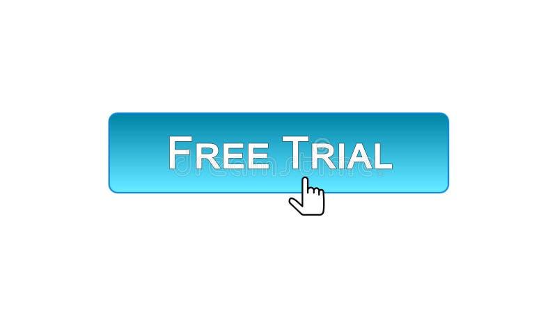 免费试用网接口按钮点击了与老鼠游标,蓝色颜色,软件 皇族释放例证