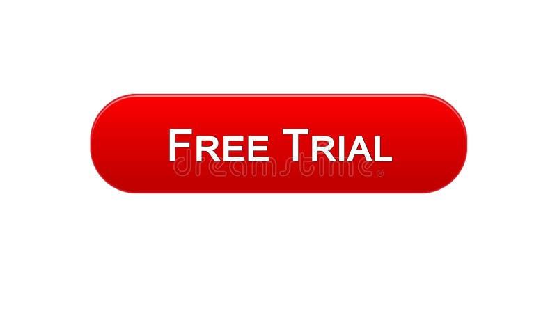免费试用网接口按钮红颜色,应用广告,软件 皇族释放例证