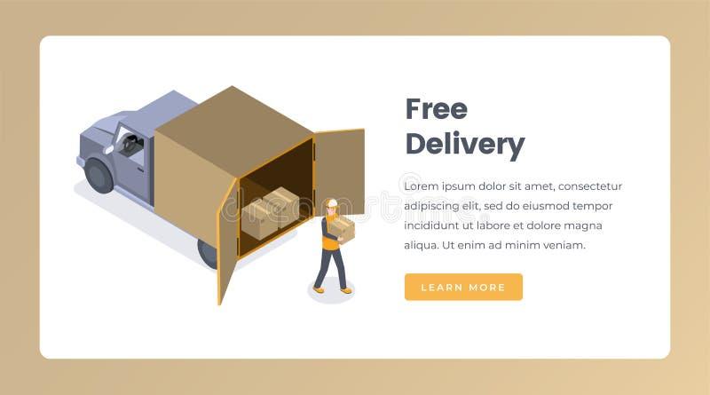 免费送货等量登陆的页传染媒介模板 货运,明确发货服务网站布局 ?? 皇族释放例证
