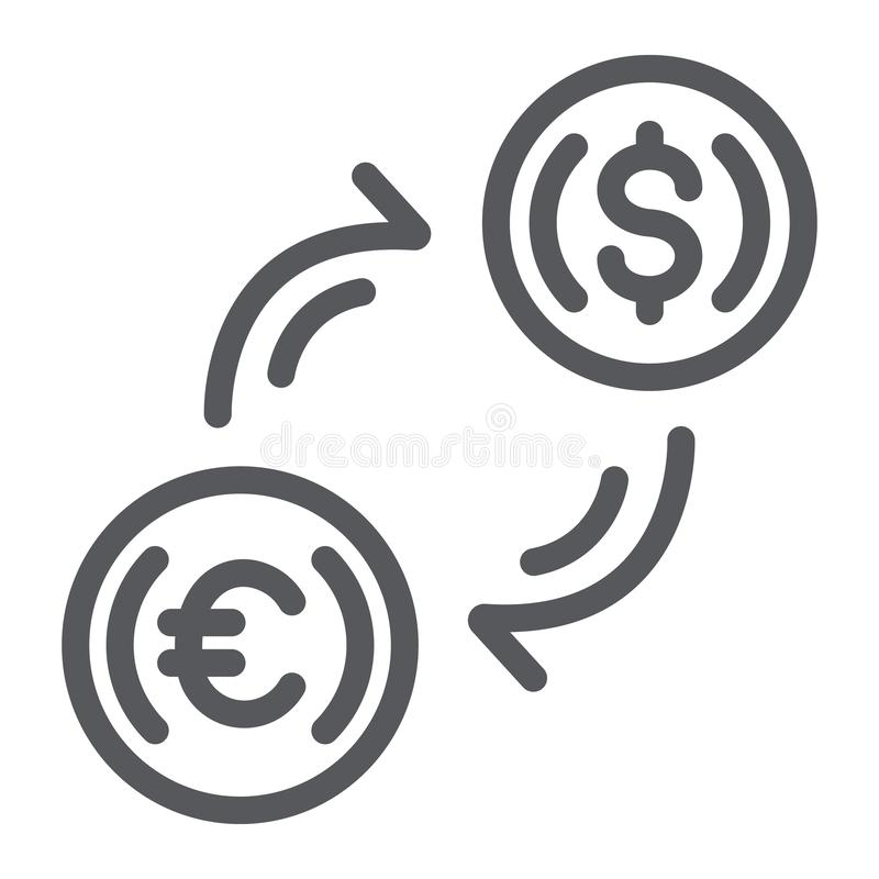 兑换处线象,财务和银行业务,货币划拨标志,向量图形,在白色的一个线性样式 库存例证