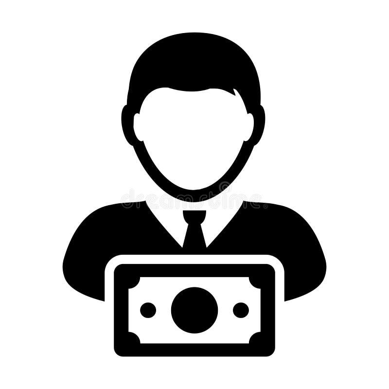 兑现有金钱标志的象传染媒介男性用户人外形具体化在平的颜色纵的沟纹图表 向量例证