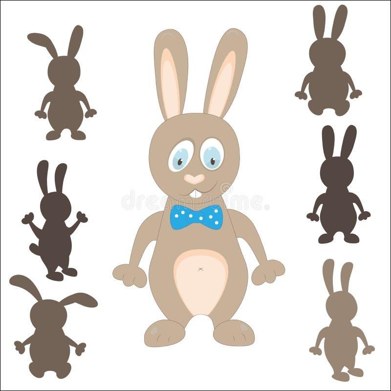 兔子剪影 复活节比赛 发现正确阴影 库存例证