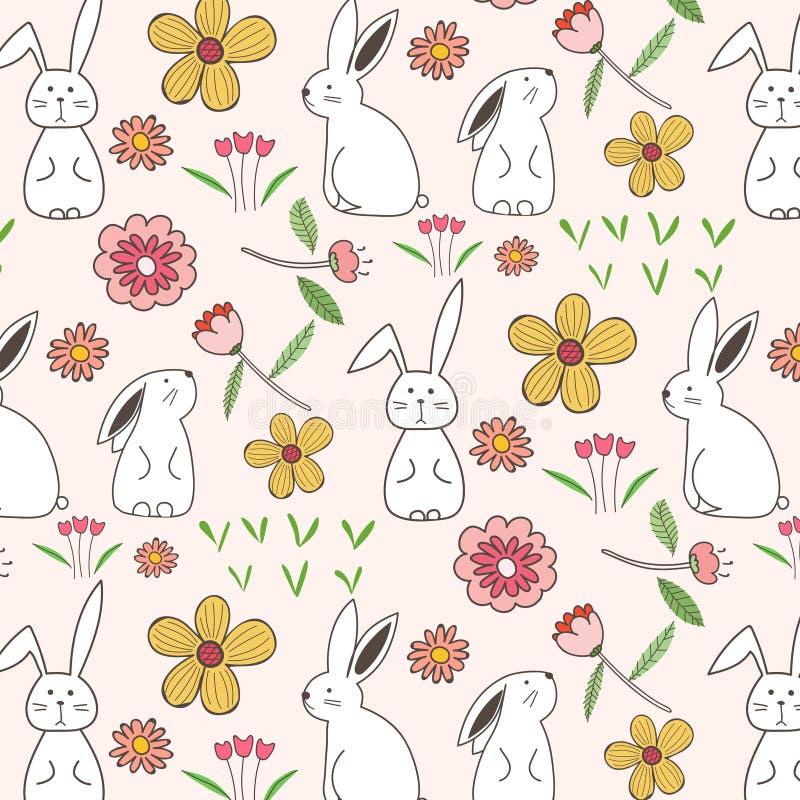 兔子和花纹花样背景 向量例证