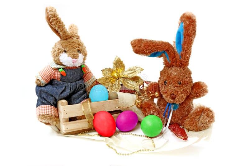 兔子和鸡蛋复活节 免版税图库摄影