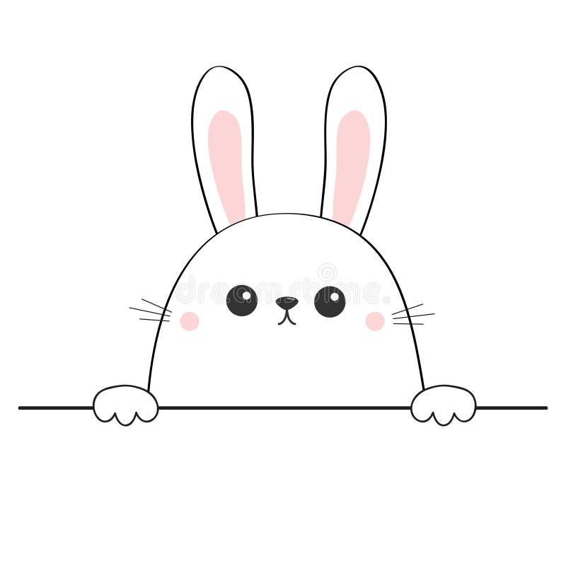 兔子愉快的面孔头象 递拿着桌线的爪子 逗人喜爱的动画片野兔字符 等高剪影 Kawaii动物 滑稽的b 向量例证
