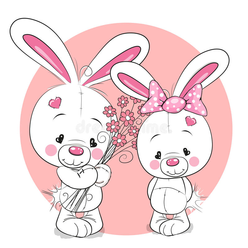 兔子男孩和女孩 向量例证