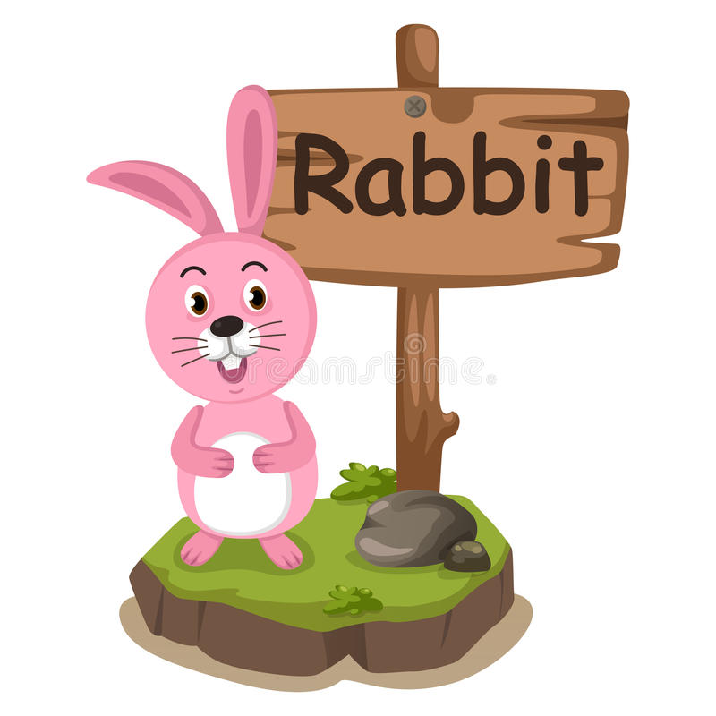 兔子的动物字母表信件R 向量例证