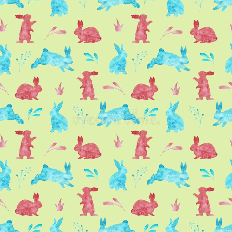 兔子的无缝的样式 背景上色了复活节彩蛋eps8格式红色郁金香向量 额嘴装饰飞行例证图象其纸部分燕子水彩 向量例证