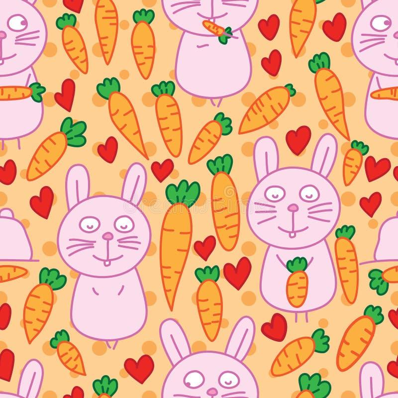 兔子红萝卜居住的无缝的样式 皇族释放例证