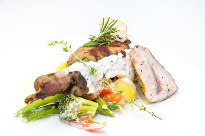 兔子肉和土豆 免版税库存照片